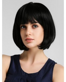 Bejoy Virgin Brazilian Hair Straight Bob Lace Front Wigs With  Neat Bangs