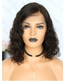 Bejoy Virgin Indian Human Hair Lace Front Curly Bob Wigs
