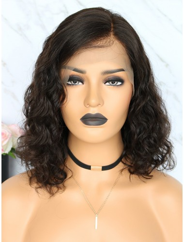 Virgin Indian Human Hair Lace Front Curly Bob Wigs