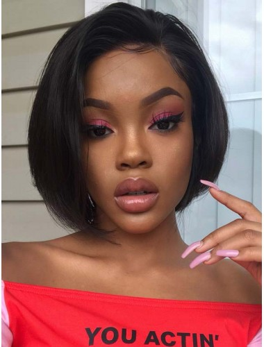 Virgin Indian Human Hair Lace Front Straight Pixie Cut Bob Wigs