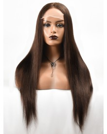 Bejoy Virgin Indian Hair 4X4 Lace Closure Wigs Straight Wigs Brown Color