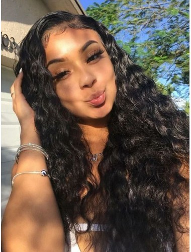Virgin Indian Human Hair Lace Front Wigs Natural Wave