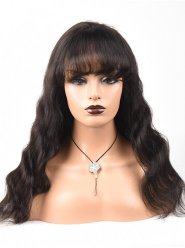 Bejoy Virgin Indian Human Hair Lace Front Wigs Body Wave With Bangs