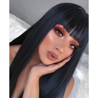 Bejoy Brazilian Virgin Hair Long Straight With Neat Bang Full Lace Wigs