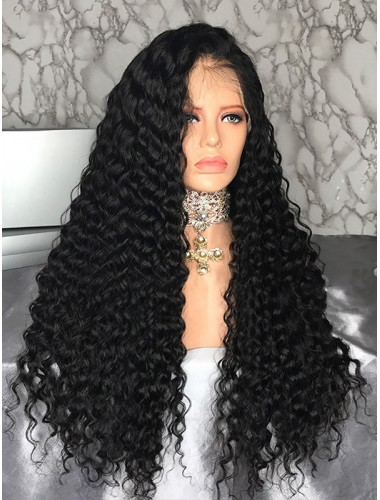 Virgin Malaysian Hair Deep Wave Lace Front Wigs With Natural Hairline